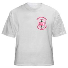 White PE T-shirt - Embroidered with St Paul's Catholic Primary School Logo (Alnwick)