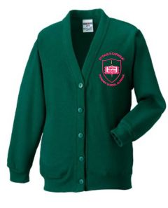 Forest SweatCardigan - Embroidered with St Paul's Catholic Primary School Logo (Alnwick)