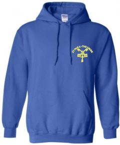 Royal Hoodie - Embroidered with St Pius R.C. Primary School Logo