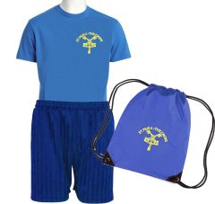 FULL PE Kit - T-Shirt, Shorts & PE Bag - Embroidered with St Pius R.C. Primary School Logo