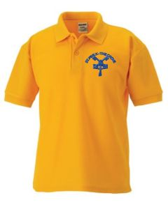 Gold Classic Polo - Embroidered with St Pius Xth RC Primary School Logo