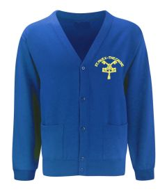 Royal SweatCardigan - Embroidered with St Pius R.C. Primary School Logo