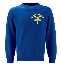 Royal Crew-neck sweatshirt - Embroidered with St Pius R.C. Primary School Logo