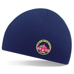 Navy Knitted Beannie Hat - Embroidered with Wallsend Jubilee Primary School logo