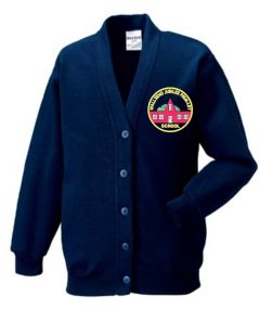 Navy Sweat Cardigan - Embroidered with Wallsend Jubilee Primary School logo