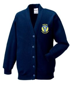 Navy Sweat Cardigan - Embroidered with Waterville Primary School logo