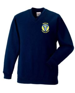 Navy V-Neck Sweatshirt - Embroidered with Waterville Primary School logo