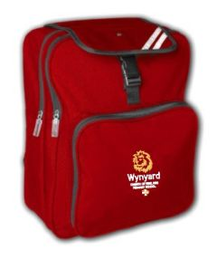 Red Junior Backpack - Embroidered with Wynyard C of E Primary School logo