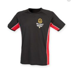 Black/Red/White PE T-Shirt - Embroidered with Wynyard C of E Primary School logo