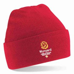 Red Knitted Hat - With Embroidered Wynyard C of E Primary School logo