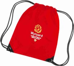 Red PE Bag - Embroidered with Wynyard C of E Primary School logo