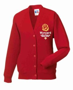 Red Sweat Cardigan - Embroidered with Wynyard C of E Primary School logo