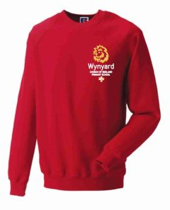 Red Sweatshirt - Embroidered with Wynyard C of E Primary School logo