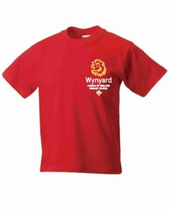 Red PE T-Shirt - Embroidered with Wynyard C of E Primary School logo